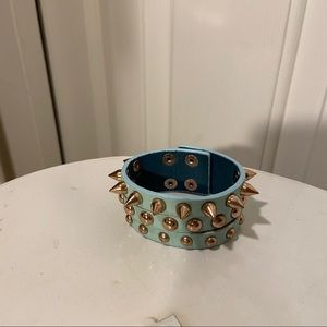 Punk Gold Spiked And Riveted Aqua Baby Blue Cuff